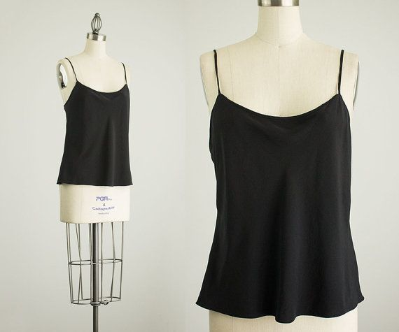 90s Vintage Black Silk Camisole Tank Top / Size Large by decades