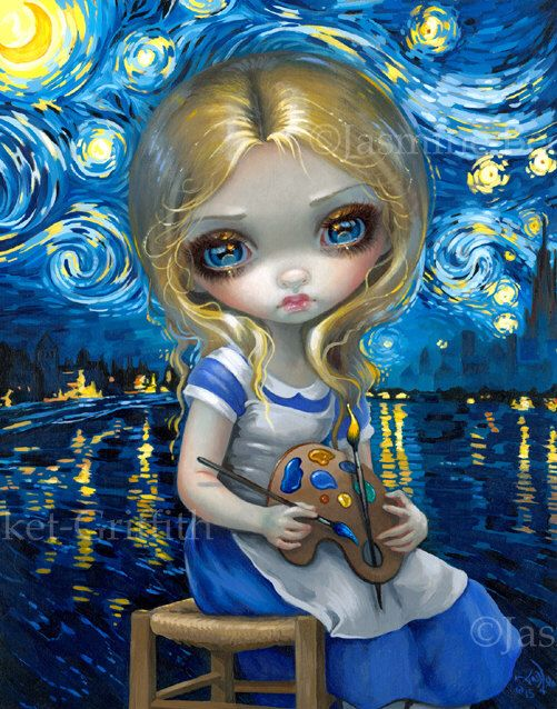Alice In A Van Gogh Nocturne Art Print By Jasmine Becket Griffith