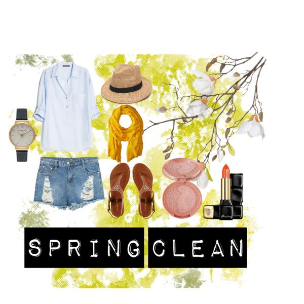 Spring Clean by hipstahaley on Polyvore featuring MANGO, Madden Girl, Olivia Burton, Love Quotes Scarves, Ále by Alessandra, Guerlain, OKA and tarte