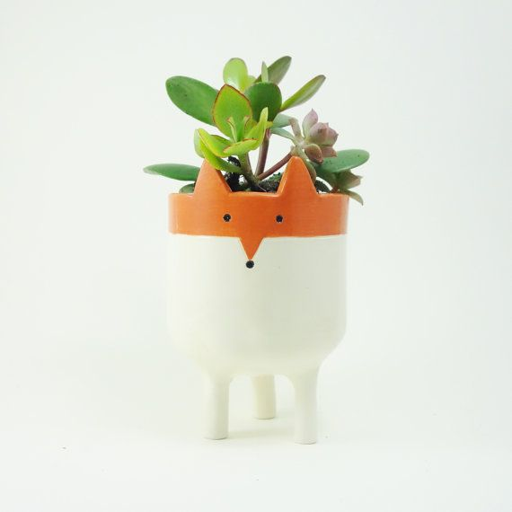 Gift Plants And Plant Ideas Perfect Container Garden For You: Tripod Fox Planter Fox Plant Pot Handmade By