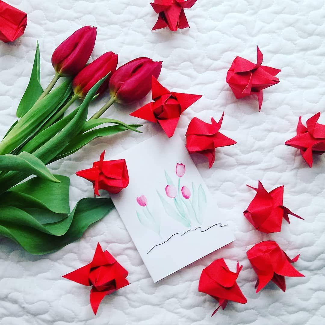 Tulipany I Kartka Z Okazji Dnia Kobiet Tulipan Tulipany Tulip Tulips Kwiat Kwiatek Kwiaty Kwiatki Flower Flowers Womensday In Origami Tableware