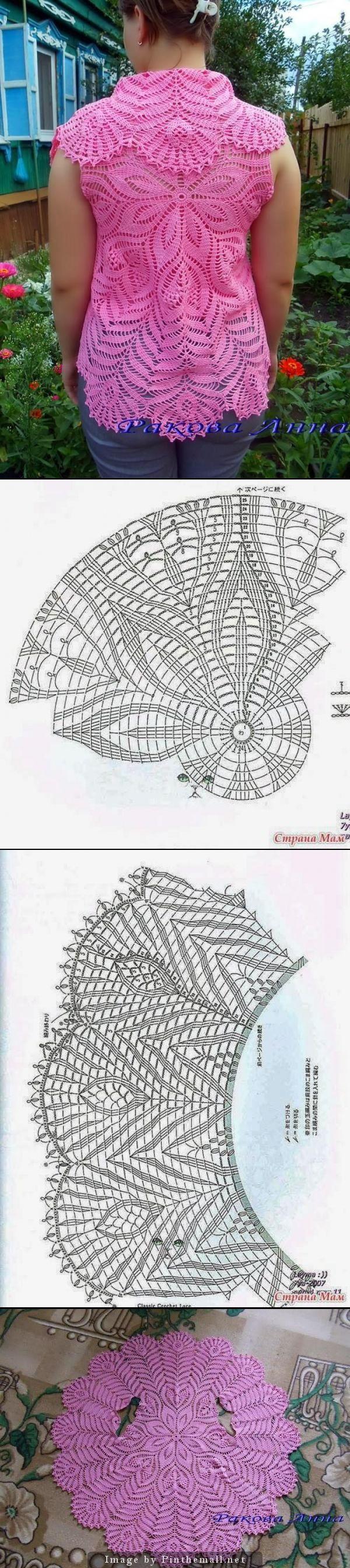 Crochet lace circular vest ~~ | Kreisjacke | Pinterest | Häkelspitze ...
