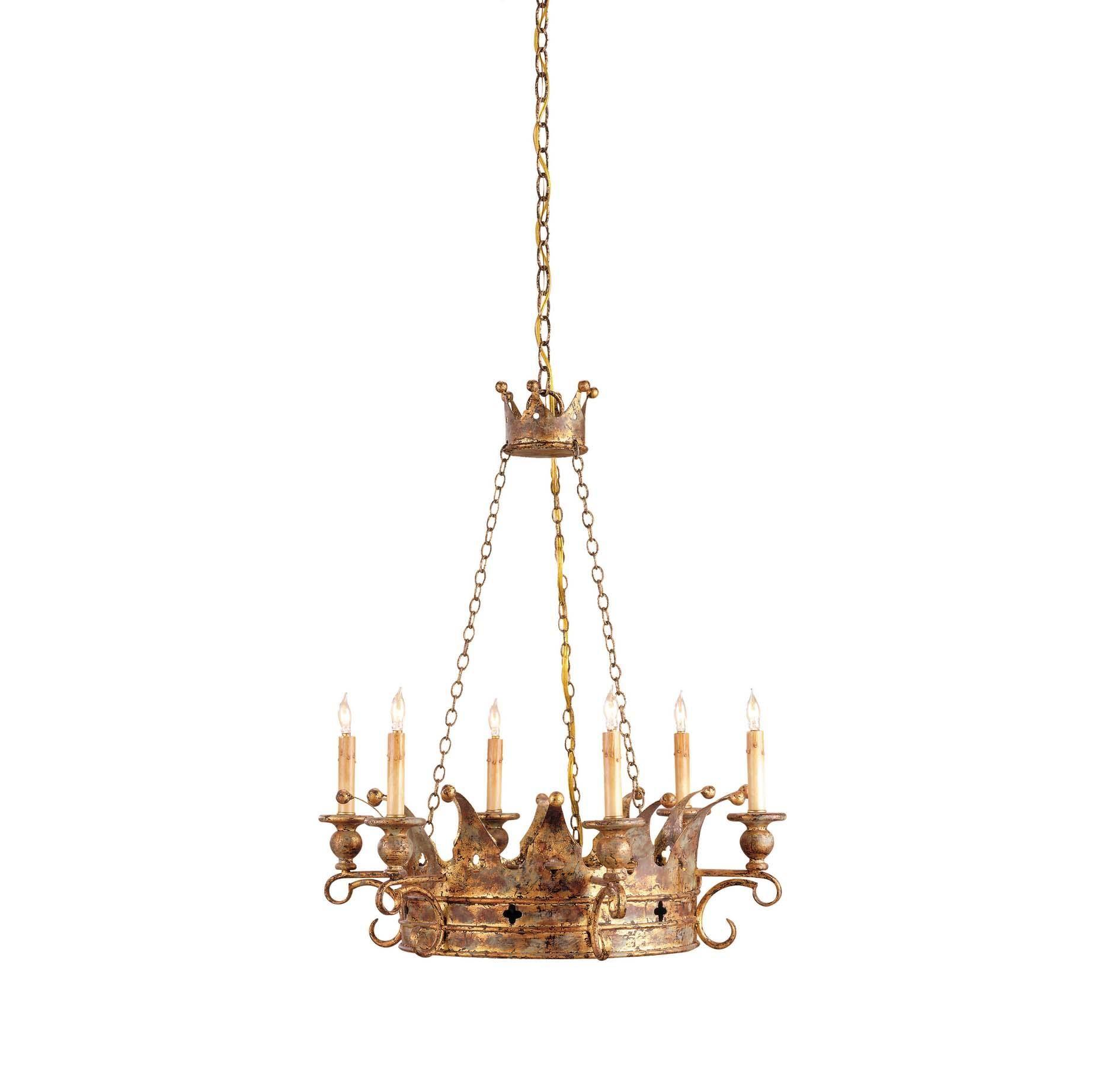 Currey & Company Crown Chandelier in Viridian Gold in Ceiling Lights, Chandeliers, Indoor Chandeliers: LightsOnline.com