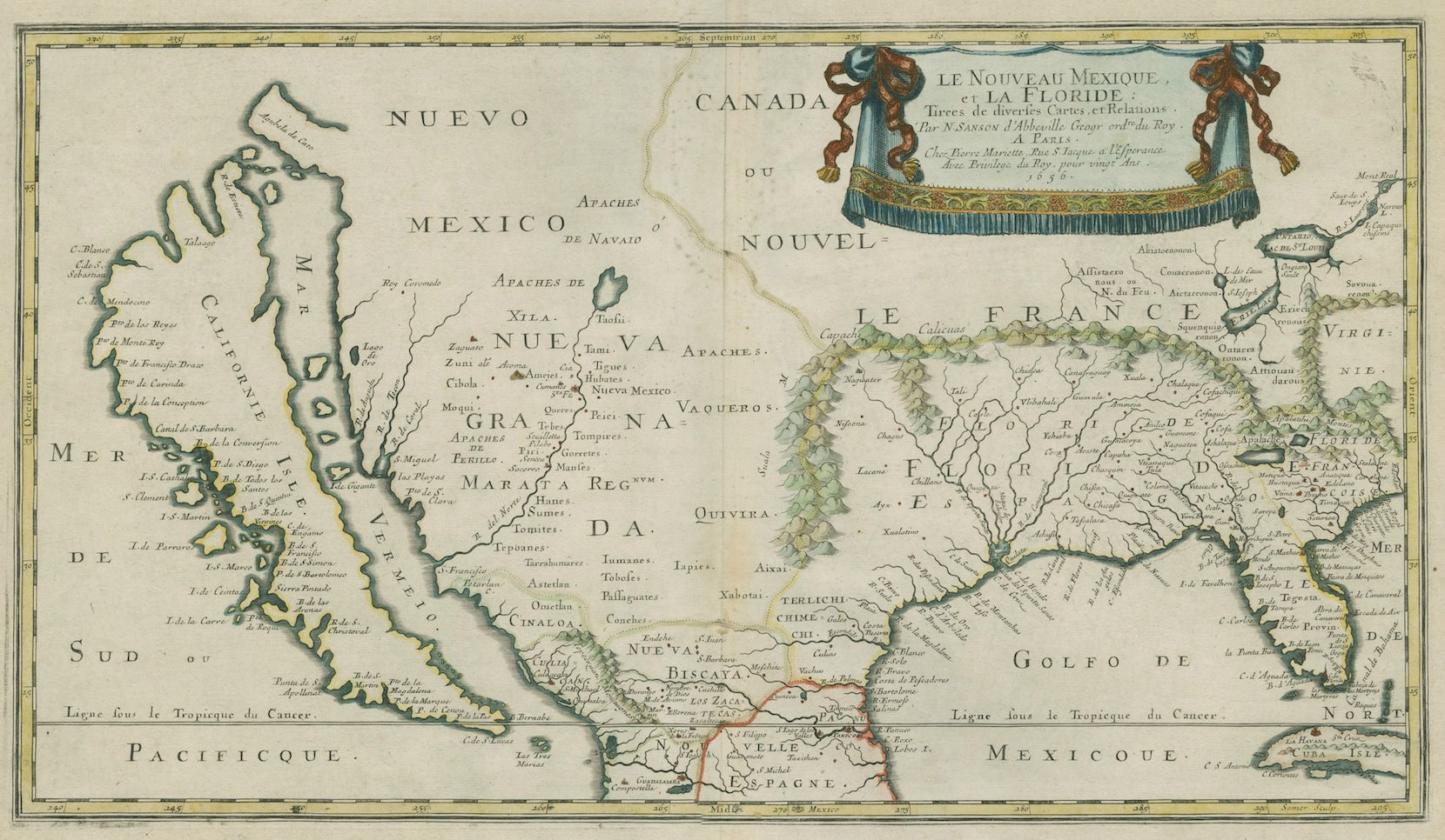 Map Of America Gulf Coast.The Gulf Coast And The Island Of California By Nicholas Sanson 1656