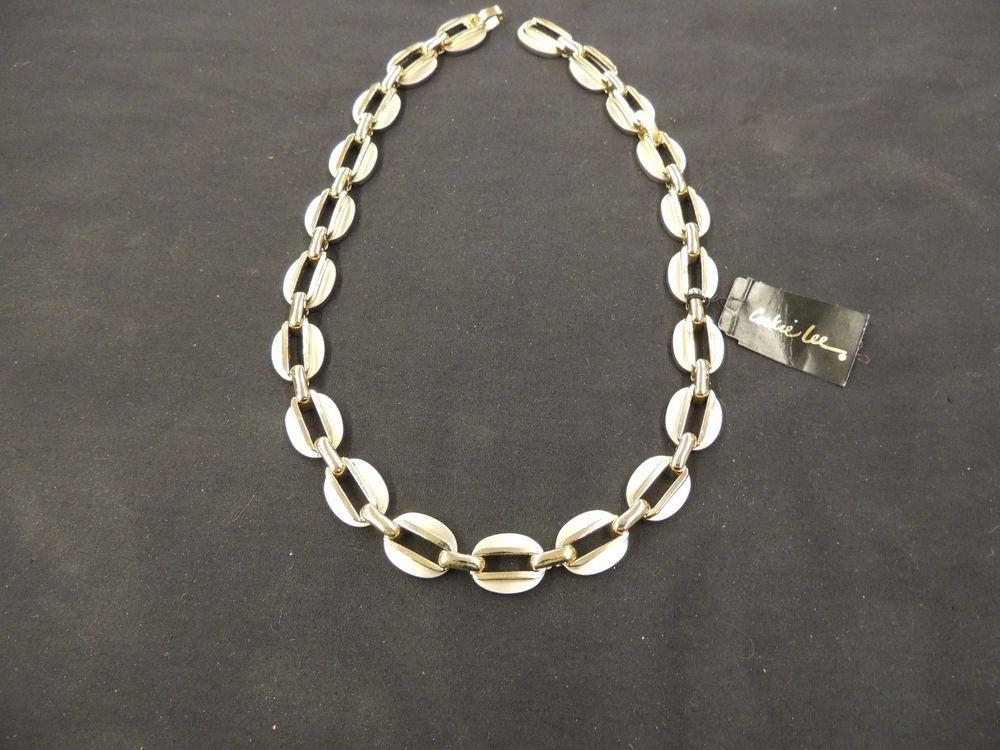 Vintage Designer Cookie Lee 2 Tone Metal Link Necklace Silvertone Goldtone Oval #CookieLee #Link
