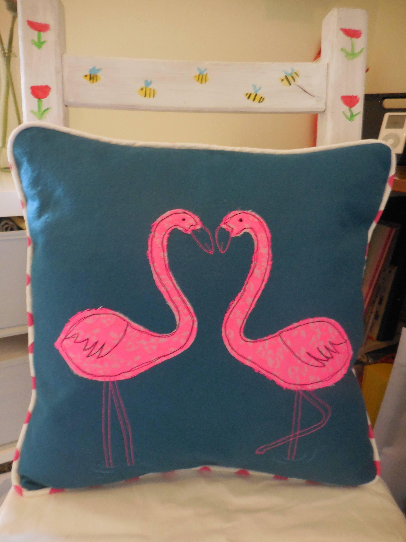 Flamingo Cushion By Threadedtogetherbyem On Etsy Quirky Cushions
