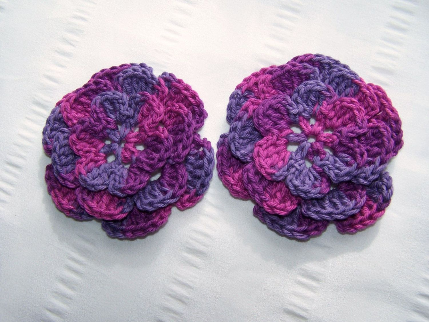 Crocheted flowers 2 appliques 3.5 inch embellishment fig multi (3.50 USD) by Lazo