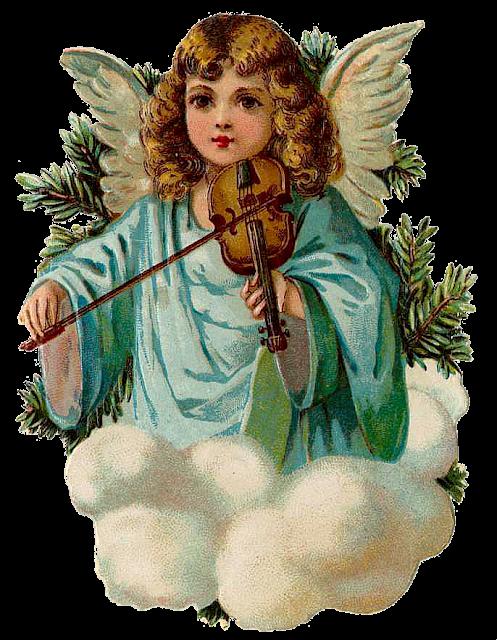 Nostalgie ! 3 Engel mit Trompeten # GLANZBILDER # EF 5175 Glanzbilder-Karte