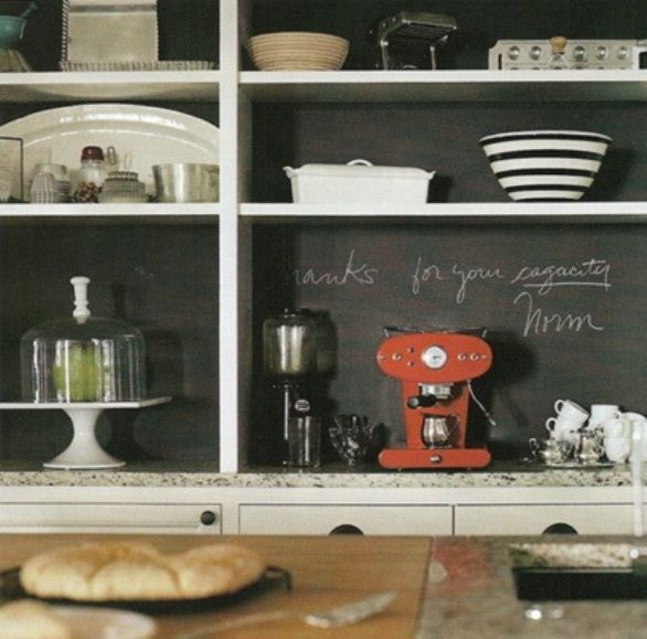 chalk board painted wall behind kitchen shelves