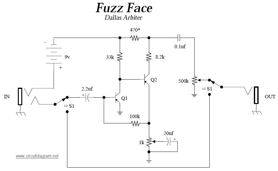 dea48fd31b5fd2e8d1d78796145ec1d5 fuzz face guitar effects pedals schematics electronic fuzz face wiring diagram at gsmx.co