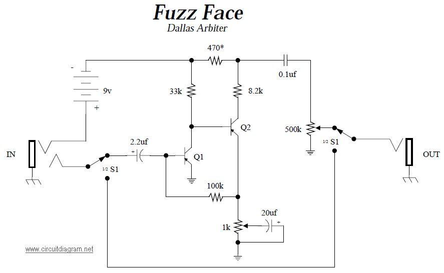 Fuzz face guitar effects pedals schematics pedal de