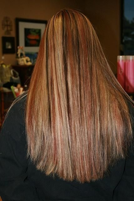 Dark Brown Hair With Red And Blonde Lowlights