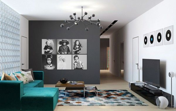 Lighting white walls accent color charcoal walls black and white posters