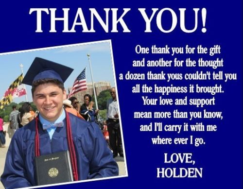 Graduation Graduate Photo Party Thank You Note Cards Personalized