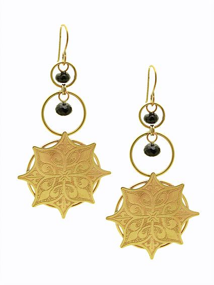 Vestige Earrings | etched brass and black spinel | Drew Curtright | drewcurtrightdesigns.com