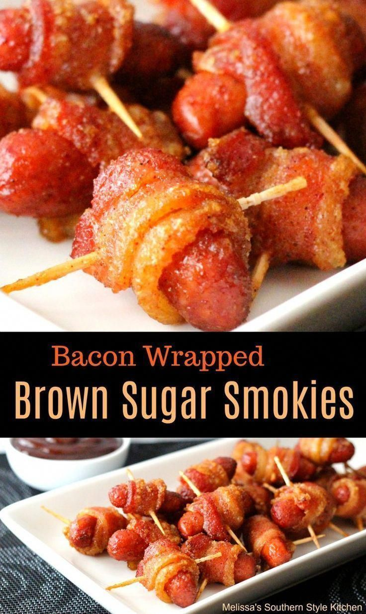 Bacon Wrapped Brown Sugar Smokies #appetizers #party #partyfood #smokies #bacon #snacks #football #recipes #food #newyearseve #superbowl #superbowlparty #christmas #munchies #superbowlappetizers