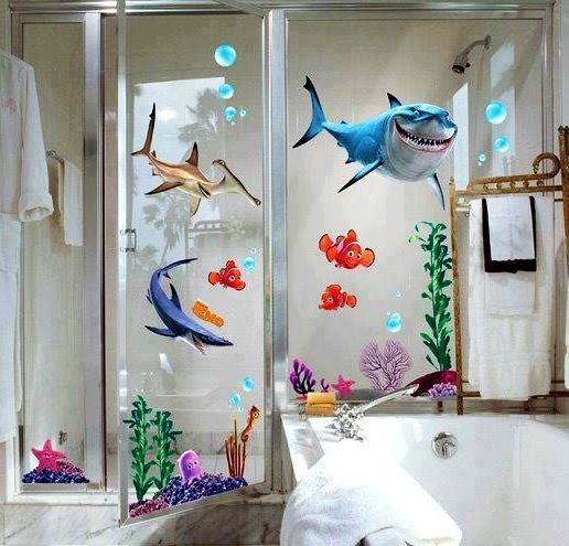 Omg I Want This For Our Bathroom Finding Nemo Shower Curtain Sticker Decor Finding Nemo Wall Decals Nemo Bathroom