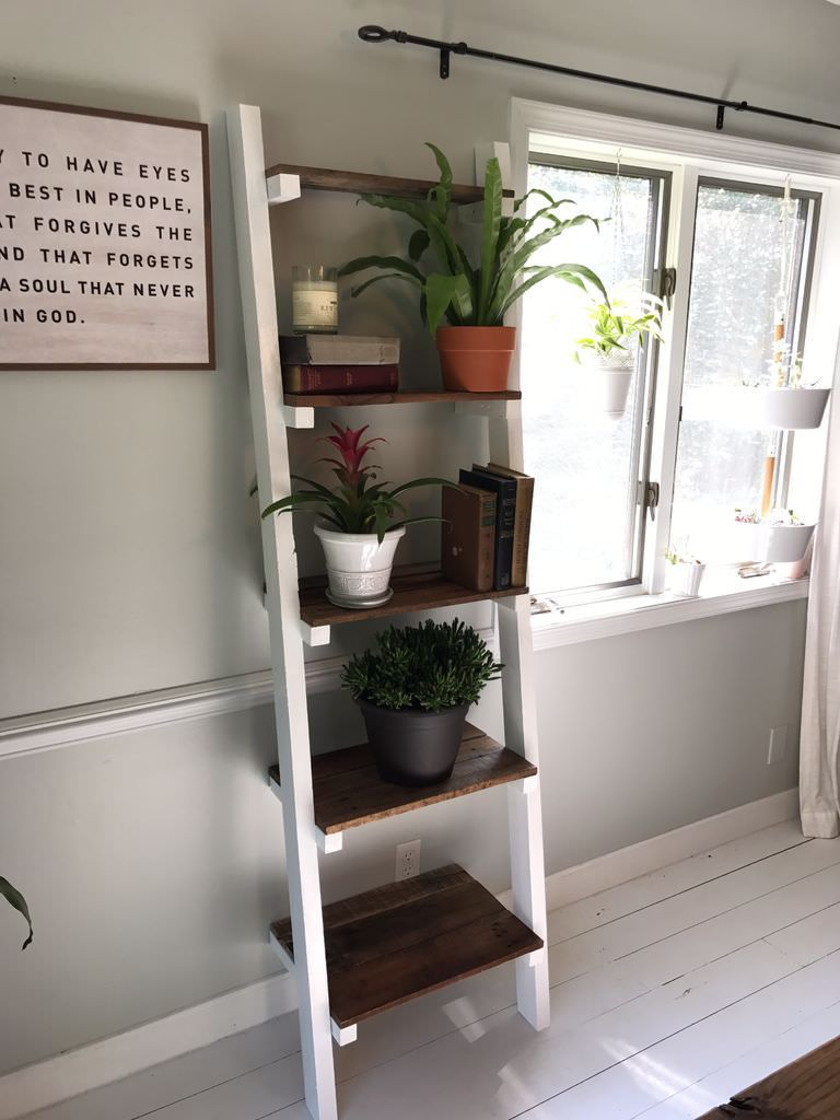 15 Gorgeous Diy Ladder Shelf Plans Free List Diy Ladder Shelves
