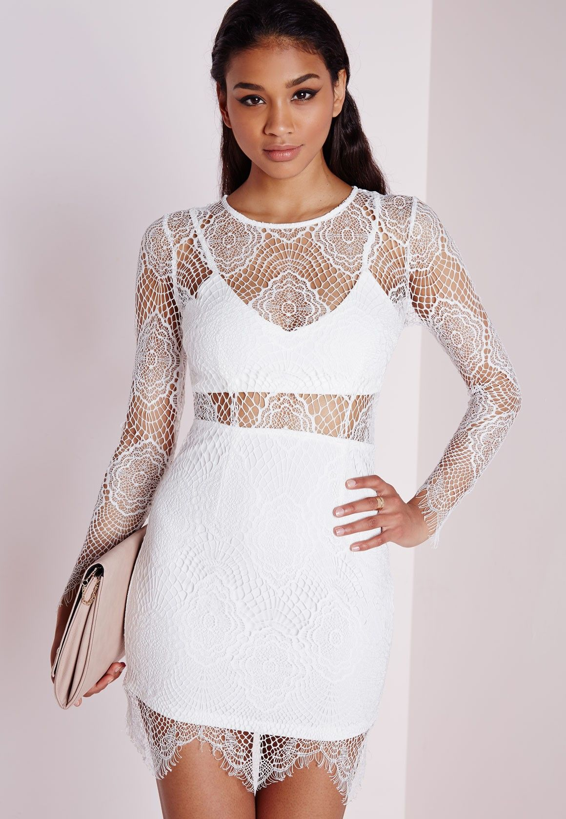 where can i buy online shop shop best sellers Missguided Lace Long Sleeve Cut Out Midi Dress White – Pemerintah ...