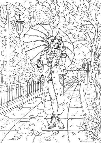 Enjoying The Fall Dibujos Dibujos Para Colorear Adultos Y Pinturas