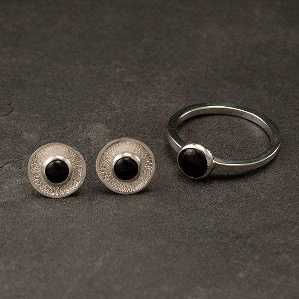 Black Stone Earrings: Black Onyx Stud Earrings- Sterling Silver Earrings With