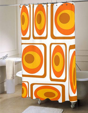 Mod Orange Shower Curtain Mid Century Modern Showercurtain