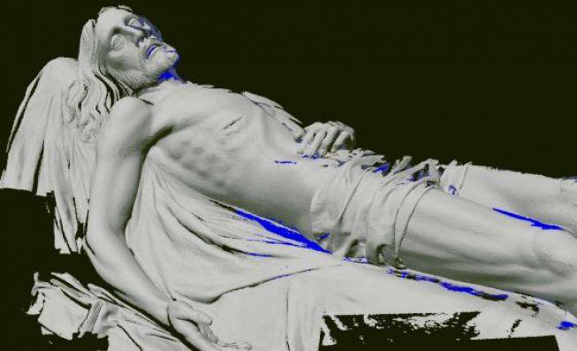 Imagen digitalizada de la talla del Cristo Yacente tras el escaneado.