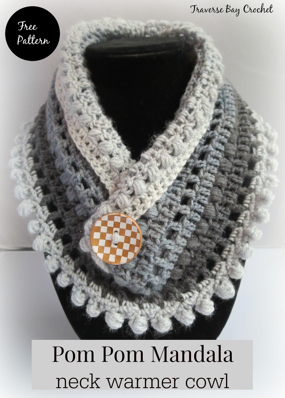 Pom Pom Crochet Mandala Cake Neck Warmer Crochet Neck Warmer