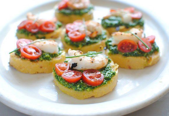 Polenta Bruschetta with Shrimp and Spinach Pesto | Recipe ...