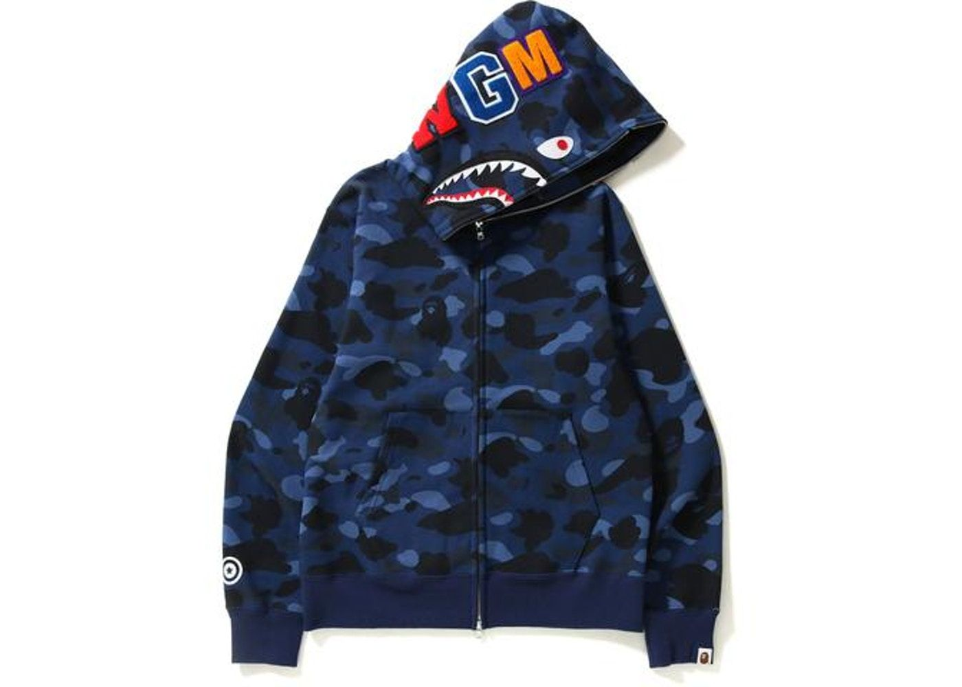 34cd7a272450 BAPE Color Camo Shark Full Zip Hoodie Blue in 2019