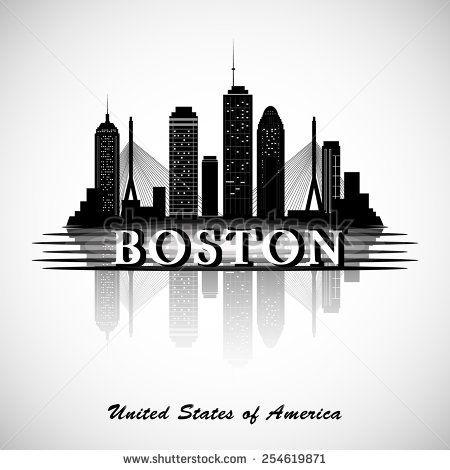 Boston Skyline City Silhouette Boston Skyline Painting Boston Skyline Boston Skyline Tattoo