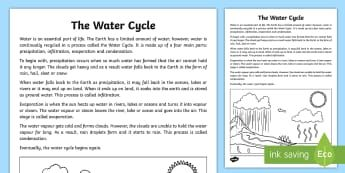 The Water Cycle Explanation Writing Sample-Australia