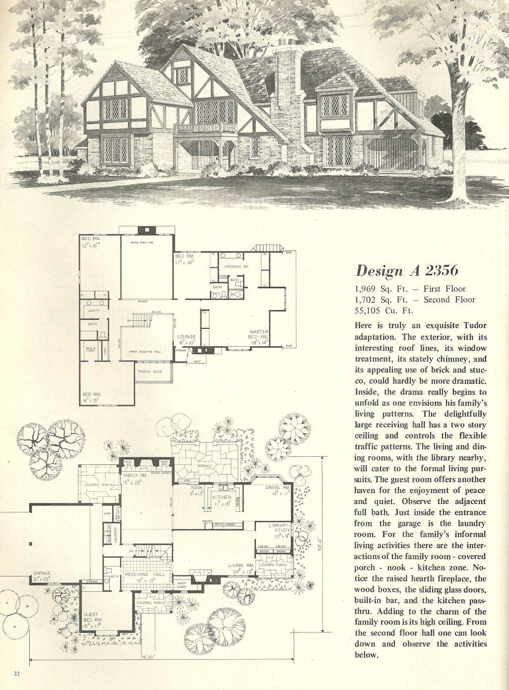 vintage house plans 1970s homes tudor style home ideas