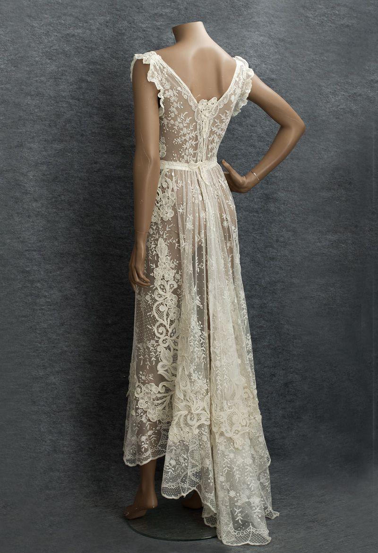 Edwardian Clothing At Vintage Textile 2806 Beaded Overblouse Lace Dress Vintage Vintage Dresses Beautiful Dresses