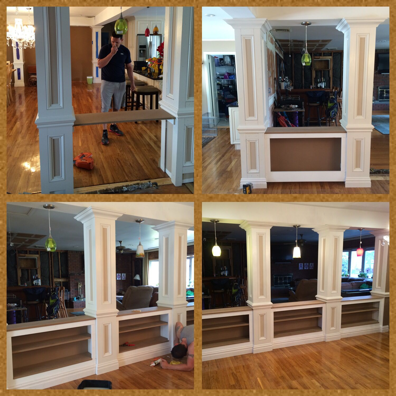 DIY columns, home improvement, book shelves, half wall ...