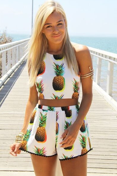 ff5859598a4b Pineapple Print Two Piece Outfit | FASHIONISTA | Two piece rompers ...