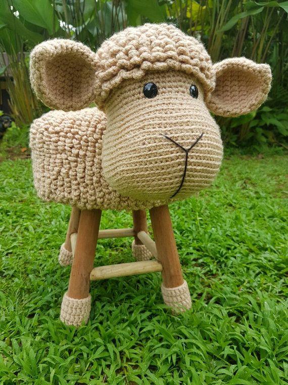 Sheep stool cover crochet (ENGLISH PATTERN) | amigurris | Pinterest ...