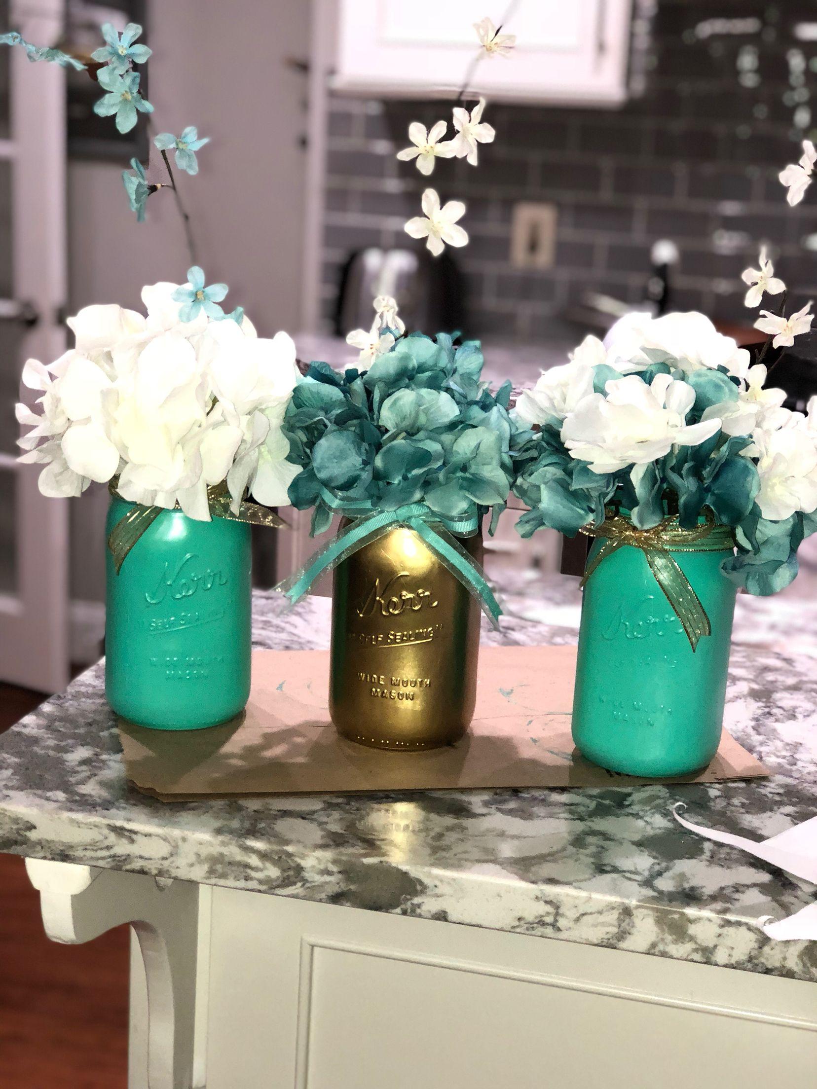 Mason Jars turquoise and gold decoration ideas