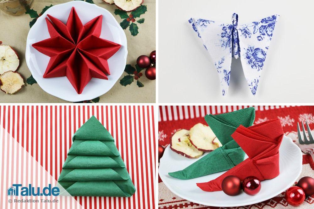 anleitung servietten falten f r weihnachten sterne engel co basteln pinterest. Black Bedroom Furniture Sets. Home Design Ideas