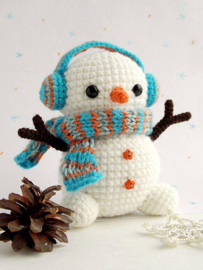 Navidad crochet - patrón de muñeco de nieve de crochet libre ...