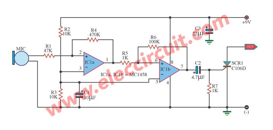 sound scr switching circuit using ic 1458 and scr c106d controller rh pinterest com