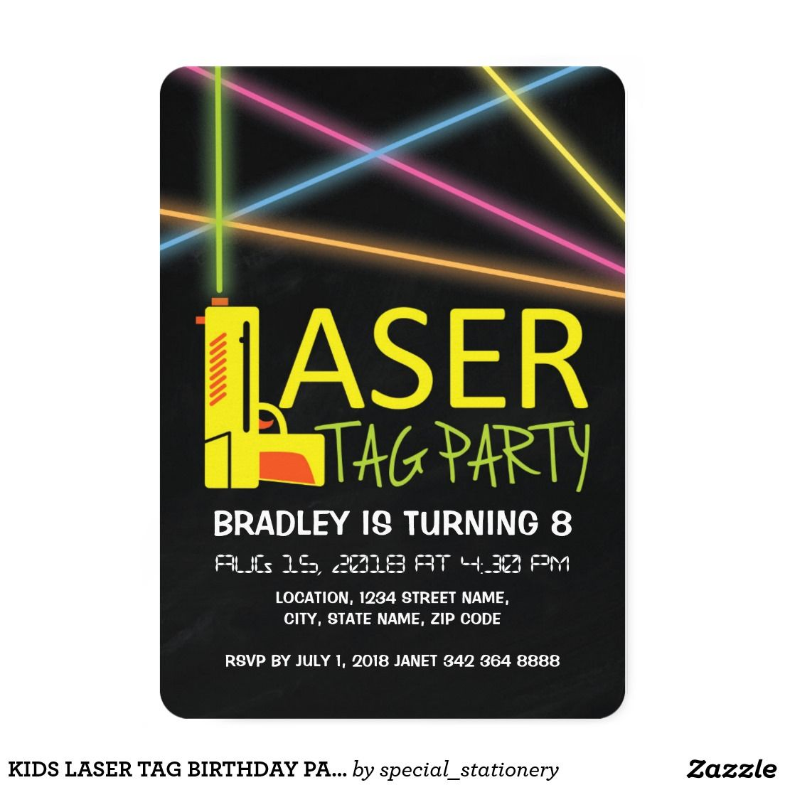 Kids laser tag birthday party card | Laser tag birthday, Party ...