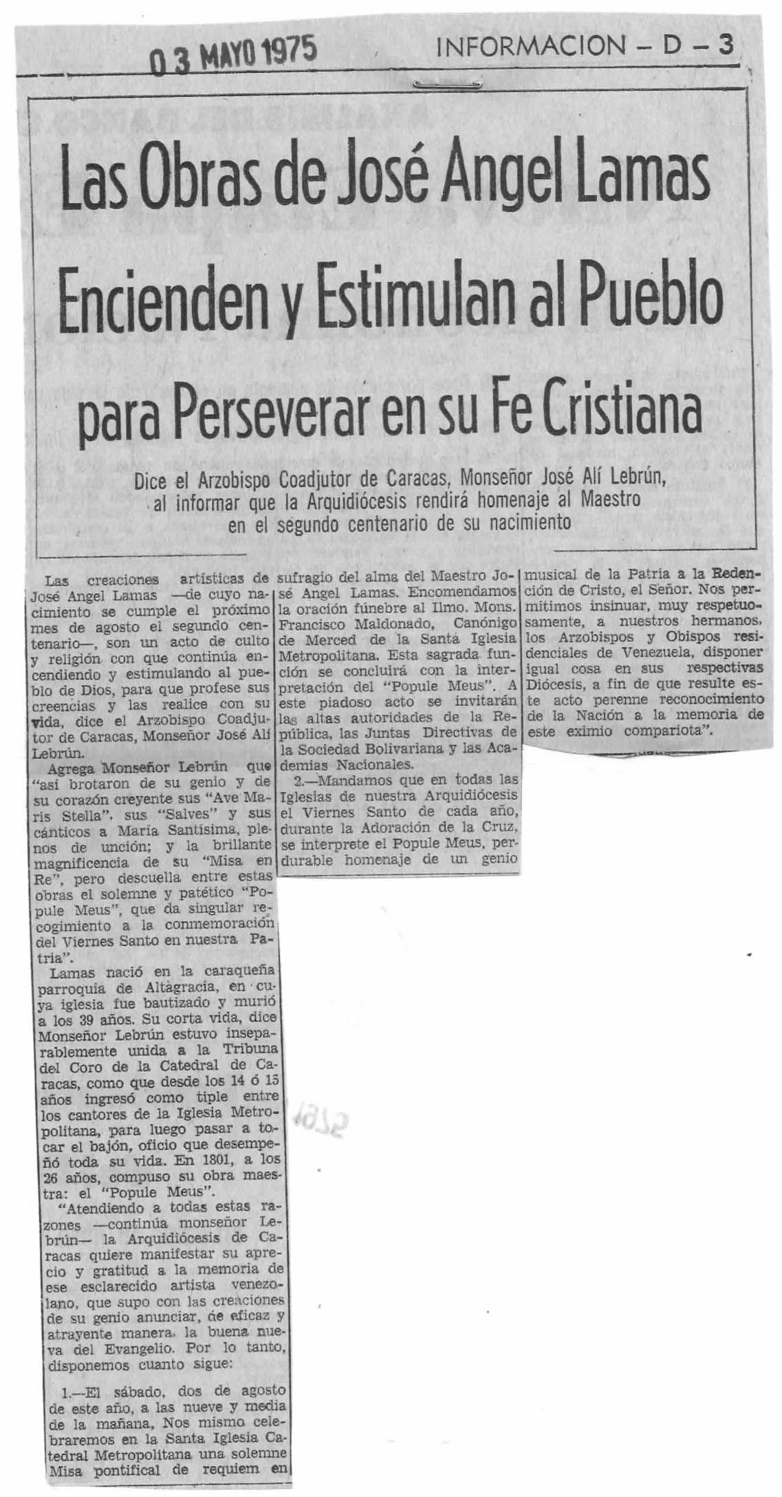 Las obras de José Ángel Lamas estimulan al pueblo para perseverar la FE cristiana  Publicado el 3 de mayo de 1975