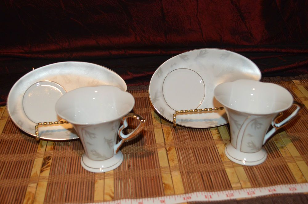Two Gna Fine Porcelain Cup And Saucer Beautiful Feather And Gold