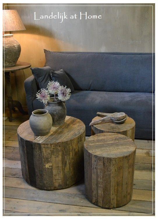 Stoere landelijke ronde boomstam salontafel