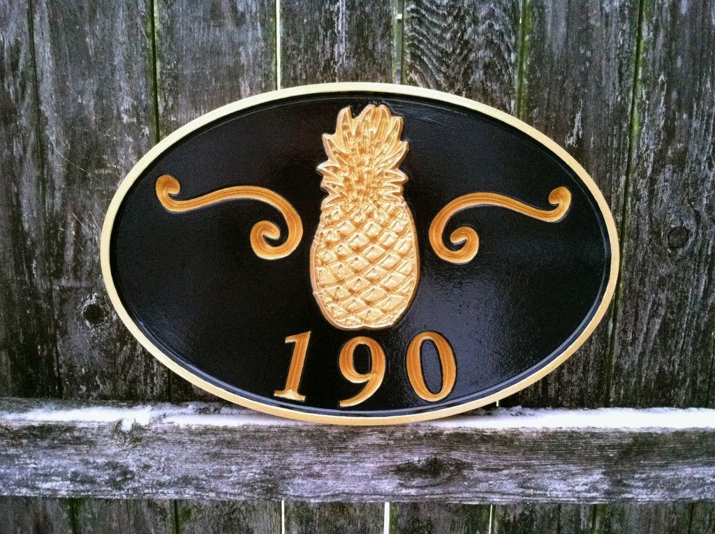 Custom Carved House Number Sign With Welcome Pinele A68