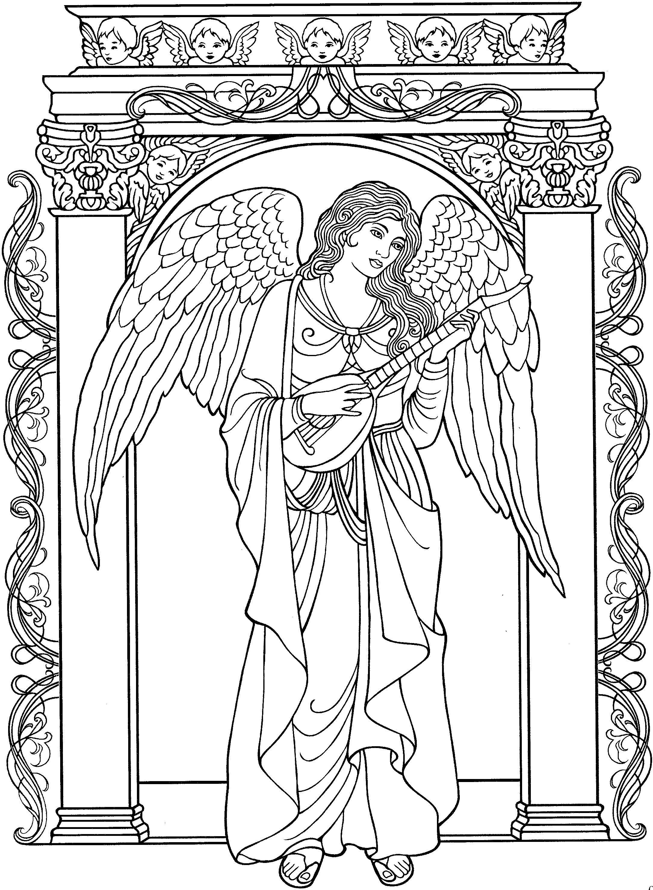 Beautiful Angel Coloring Page Christmas Fun Pinterest Angel