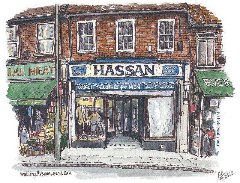 hassan Urban sketchers, Watercolor, ink, Oak avenue