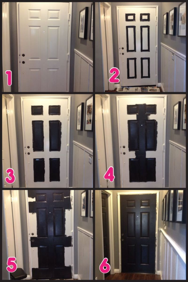 How to paint doors black & Hallway Makeover Part 2 \u2013 Black Doors! | Paint doors black ...