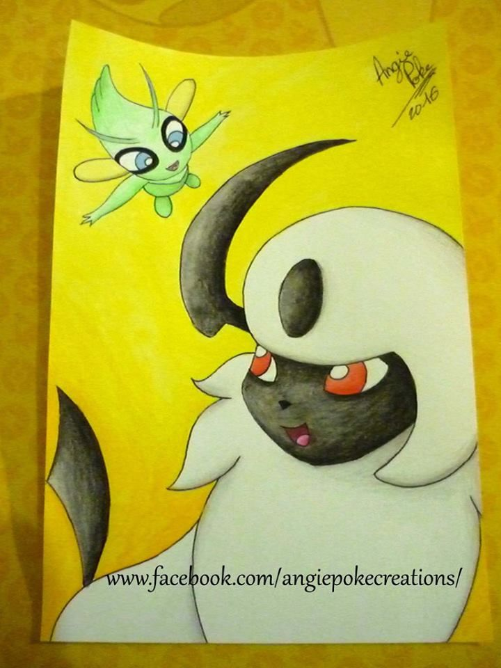 Dessin Pokemon Aquarelle Absol et Celebi